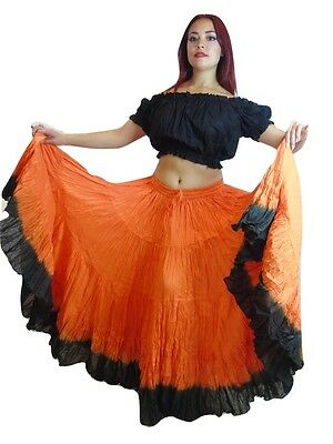 25 yard belly dance dancing cotton skirt & Top 2pc Shaded Tribal Gypsy Colour