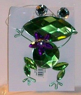 "Frog Holding Jeweled  Blue Center Stone 4"" Tall 3"" Loop Ornament Car Charm"