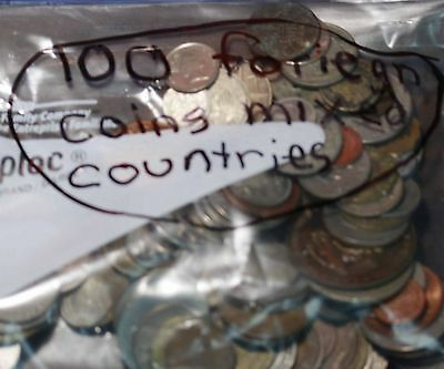 100 Foreign Coins Mixed Countries Free S/H