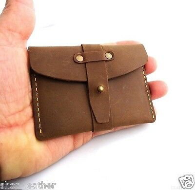 Genuine real Leather mini wallet Money credit card holder pocket compact brown
