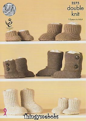 King Cole 3275 Hug Slippers/boots Original Dk Knitting Pattern - 1-2 Years/adult