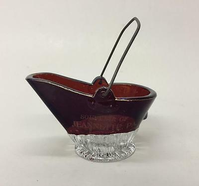 EAPG Ruby Stained Flash Glass Coal Hod Bucket Souvenir of Jeannette PA