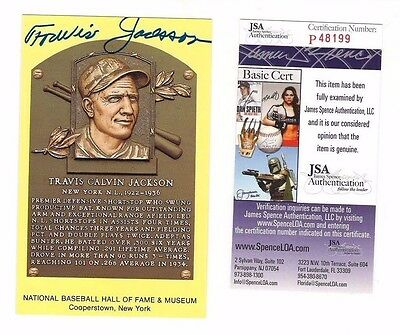 Travis Jackson New York Giants HOFer Baseball Autographed Plaque Postcard JSA