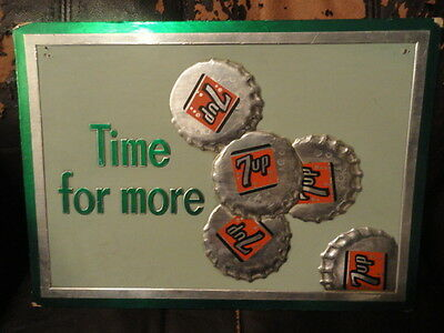 Time for more 7 Up Cardboard  Sign - Seven Up - Vintage - Soda