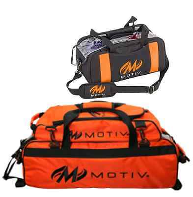 Motiv 3 Ball Tote Bowling Bag w/ shoe pocket & Matching 2 Ball Tote Color Orange