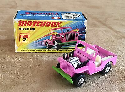Jeep Hotrod Pink new 2 in box 1970s Matchbox Car New Old Stock vintage superfast