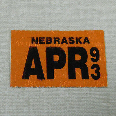 1993 Nebraska passenger car license plate sticker