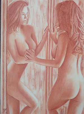 Original Pastel Art - Nude Female Mirror Erotic Pinup Sexy Woman Gay Interest