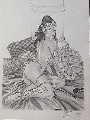 DEJAH THORIS - Original Art - Nude Sexy Erotic Pinup Fantasy Comic Warlord Mars