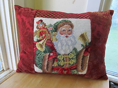 Finished Needlepoint And Tapestry Christmas Pillow With Old World Santa Design