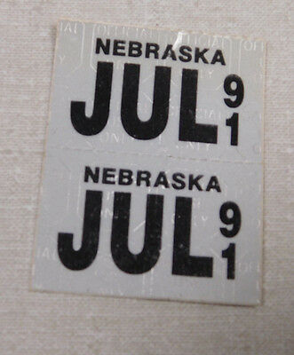 1991 Nebraska passenger car license plate sticker pair