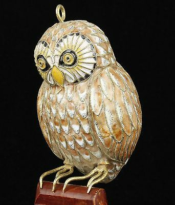 China Collectible Old Handwork Carved  Painting Cloisonne  Owl Statue Decoration