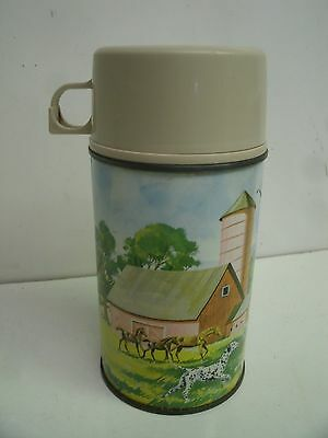 Vintage 1962 King Seeley Metal Thermos PETS AND PALS Farm Barn horses # 2846