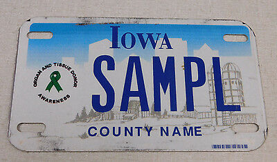 """2000""""s Iowa Organ and Tissue Awareness sample motorcycle license plate"""
