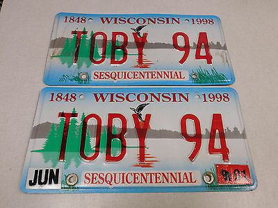 2001 Wisconsin Sesquicentennial passenger car vanity license plate pair TOBY 94