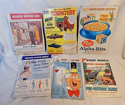 6 Box Panels From Early 1960s Cereal Boxes