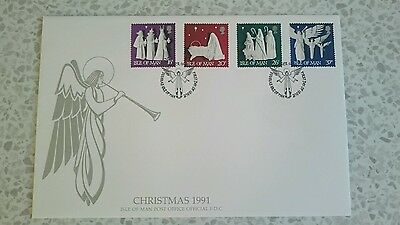 Isle of Man stamps FDC (1991) - Christmas
