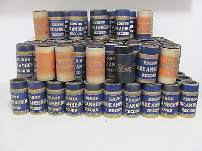 Huge Lot 123 Edison Blue Amberol Record Cylinders with tubes