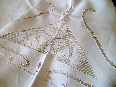 """102"""" Wide x 110"""" Long KING Vintage FRENCH LINEN Top SHEET Lace EMBROIDERY"""