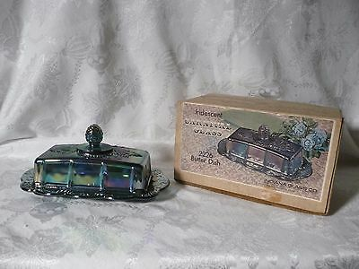 Vintage Iridescent Blue Carnival Glass Butter Dish #2226