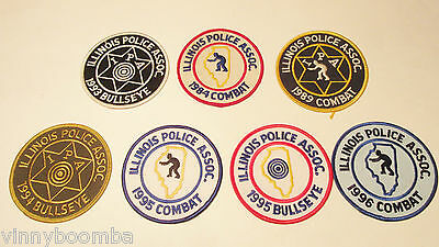 Vintage Illinois Police Association Combat & Bullseye Shooting Patches Lot 7