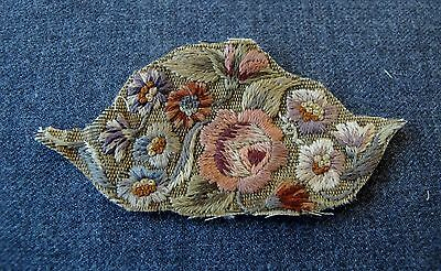 Antique Hand Embroidery Flowers & Leaves Applique For Repurpose     3033