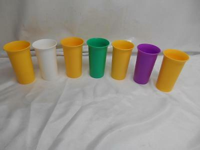 Old Vtg TUPPERWARE 10 1/2 oz. TUMBLERS Glasses Made USA Assorted Colors Set 7