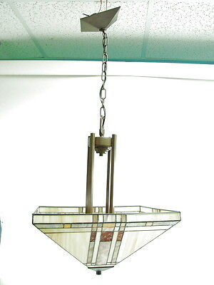 Hanging Vintage Chandelier Shade Leaded Stain Glass Arts & Crafts Mission Style