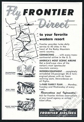 1952 Frontier Airlines system map & vacation scenes vintage print ad