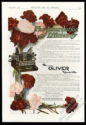 1907 Oliver Typewriter color photo with flowers vintage print ad