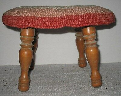 Vtg Rustic Primitive Distressed Wooden Upholstered Time-Out Stool Seat Stand