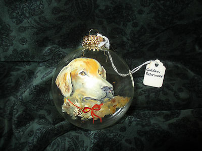 Golden Retriever Dog - Hand Painted Glass Christmas Ornament Red ribbon