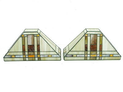Lot of 2 Leaded Stained Glass Wall Fixtures Lights Arts & Crafts Mission Style