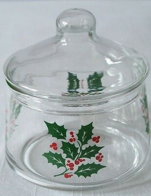 2pc Indiana Glass Holly Berry Christmas Lidded Candy Dish or Jar w/Lid Trinket