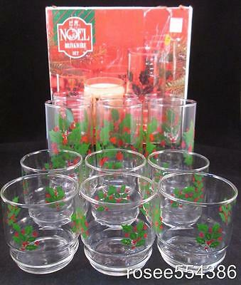 12pc Noel Indiana Glass Holly Berry Christmas Cooler 16oz Glasses 10oz Rocks