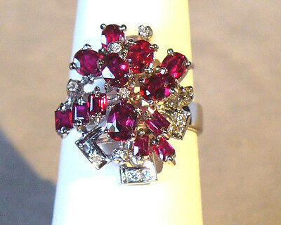 UNIQUE PINK TOURMALINE and NATURAL DIAMOND 18K WHITE GOLD COCKTAIL RING SIZE 8 !