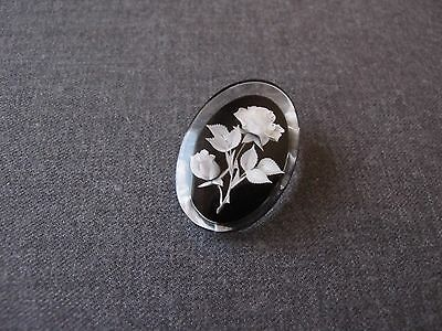 Vintage Reverse Carved Roses & Leaves Clear & Black  Lucite Pin