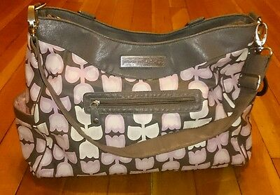 Petunia Pickle Bottom For Target Pink Tulip With Gray Diaper Bag