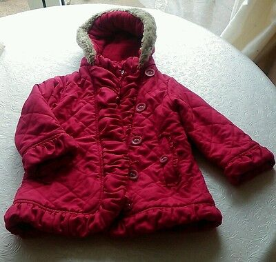 Beautiful age 3-4 hooded red coat fleece lined
