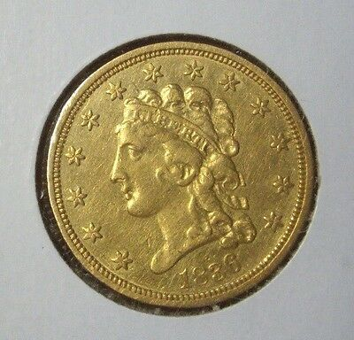 $2.50 Gold 1836 1/4 Quarter Eagle Liberty  Mint State Key Date Nice Coin