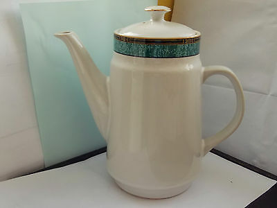 Large Royal Norfolk Coffee Pot With A Turquoise Green Band