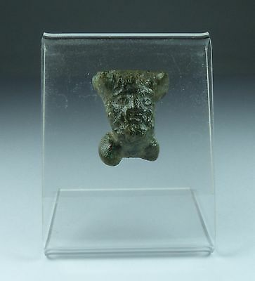 Ancient Roman Bronze Head Of Pan 1St Ad