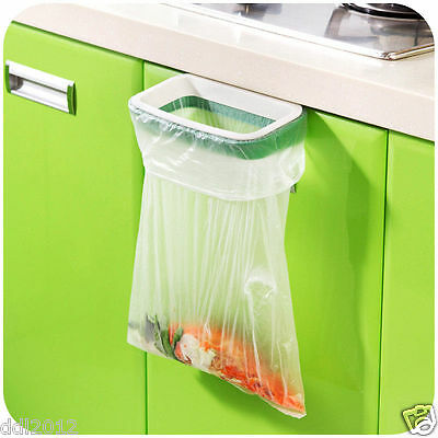 Hanging Kitchen Cupboard Cabinet Door Back Stand Trash Garbage Bags Storage Rack