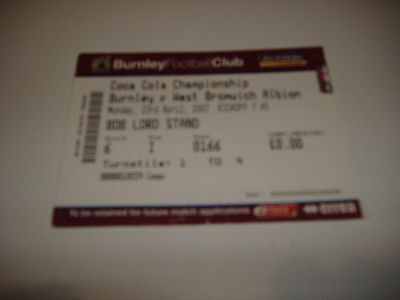 Ticket Burnley V Westbromwich Albion 2006 - 07