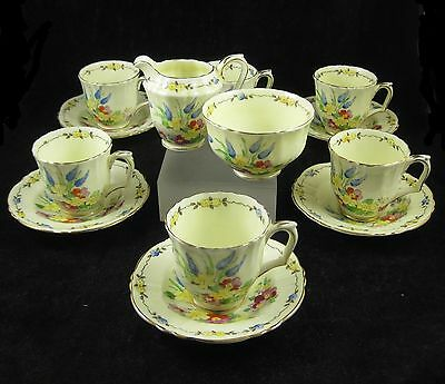 Pretty 1930's Art Deco Crown Staffordshire Coffee Set