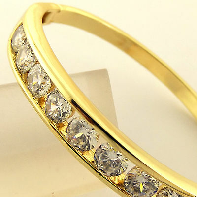 Fsa254 Genuine Real 18K G/f Gold Solid Diamond Simulated Cuff Bangle Bracelet