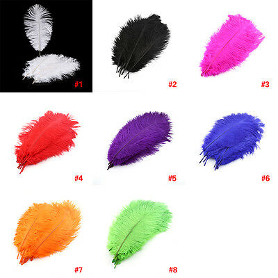 10 Pieces Brand New Natural Male Ostrich Feathers 25-30cm Large Fluff Decor DH