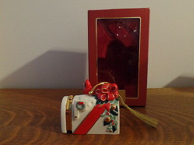 Lenox Yuletide Greetings Hinged Ornament with Cardinal on Mailbox - Free Ship