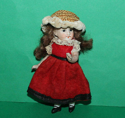 Vintage Dolls House Adorable All Bisque Five Joint Wigged Doll
