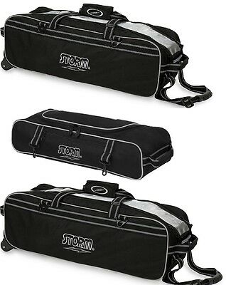 TWO Black Storm 3 Ball Tournament Tote Bowling Bags 1 With Shoes and 1 Without
